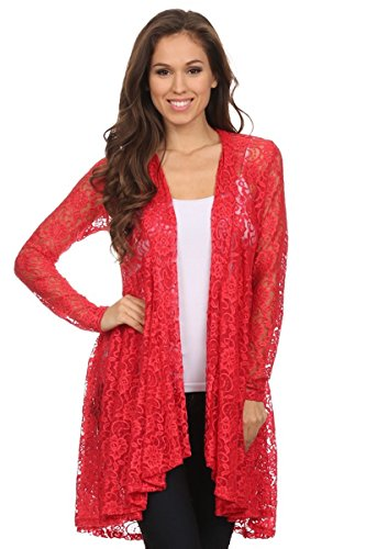 Langarm Maxi Cardigan aus Spitze, Boho Style Strickjacke, Crochet Haekelspitze festlicher Abendmantel, Top Blumen-Muster, Farbe Rot, Size 40