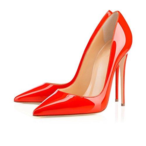 ELASHE - Femmes - Stiletto sexy - Classic talon haut- Cuir synthétique - Grande Taille - Haute couture - Talon aiguille 12CM - Bout pointu fermé Orange