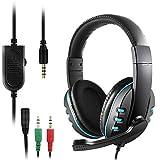 DaKuan Over-Ear-Kopfhörer mit Mikrofon und Lautstärkeregler für Laptop, PC, PS4, Xbox One Controller, Bonus mit 3,5 mm Adapter