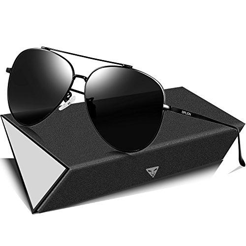 SIPLION Herren Pilotenbrille Polarisierte Sonnenbrille 8002-Black-Frame