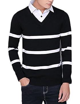 Suéter Casual Para Hombre Con Cuello En V De Manga Larga Con Cuello En V Jersey De Punto Con Cuello Camisero