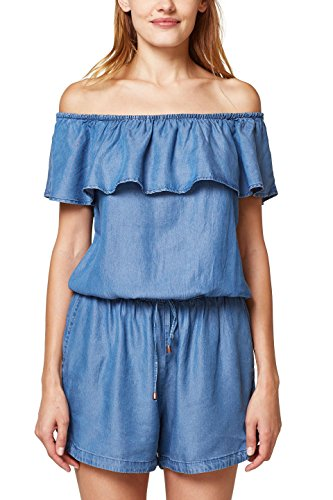 edc by ESPRIT Damen Jumpsuit 058CC1L002, Blau (Blue Medium Wash 902), Small