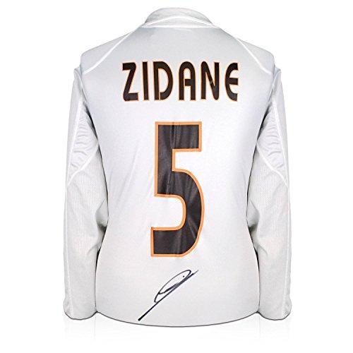 Zinedine Zidane a signé le Real Madrid 2003-04 chemise de football avec manches longues et Champions League Starball