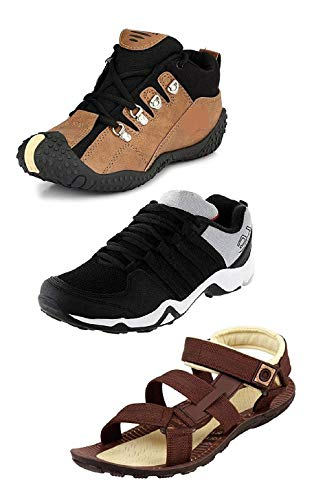 Tempo Men's Combo of 3 Shoes - 2 Floaters & 1 Thong Sandals