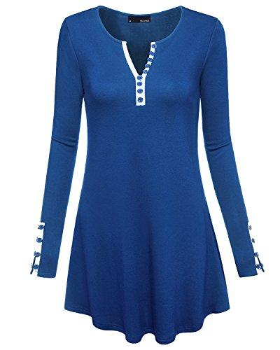Miurus Tuniken Zum Tragen mit Leggings, Damen Fashion Button Down Sexy Kerbe mit V-Ausschnitt Lang Strick Jersey Lässige Henley Tunika Shirt Tops Blau x Große Süße Tunika (Button-down-shirt Gestreifte Blau)