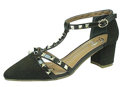 Minetom Frühjahr Sommer Herbst Mode Dame Wies High Heels Niet Spleiß Gürtelschnalle Stöckelschuhen Die Füße Schuhe Pumps Partei Grün