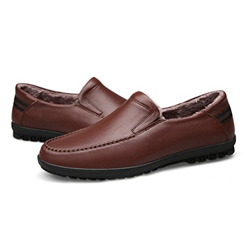 YiJee Homme Loisirs Plats Loafers Épaississement Chaude Chaussures Low-Top Marron1