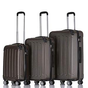 BEIBYE 2045 Hartschale Koffer Kofferset Trolley Reisekoffer Größe XL-L-M in 12 Farben (Coffee, Set)