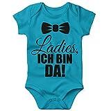 Mikalino Babybody mit Spruch für Jungen Mädchen Unisex Kurzarm Ladies, ich Bin da! | handbedruckt in Deutschland | Handmade with Love, Farbe:Atoll, Grösse:62