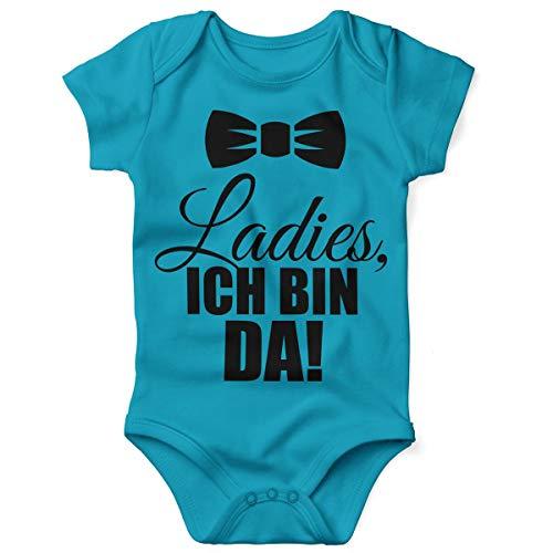 Mikalino Babybody mit Spruch für Jungen Mädchen Unisex Kurzarm Ladies, ich Bin da! | handbedruckt in Deutschland | Handmade with Love, Farbe:Atoll, Grösse:62 (Lady Geburt Kostüm)