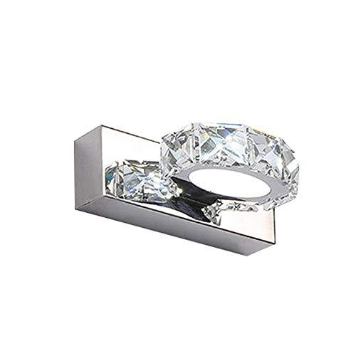 CCSUN LED Kristall Spiegelleuchte Bad-innenbeleuchtung, Edelstahl IP44 Modern Spiegelleuchte Weißes licht 3w Innenbeleuchtung Wandleuchte-Weiß 1-Licht - 1-licht-kristall-wandleuchte