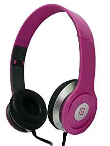 Langston ® High Definition Sound Over Ear Foldable Headphones in Pink With Microphone Suitable For Amazon Kindle Fire HDX