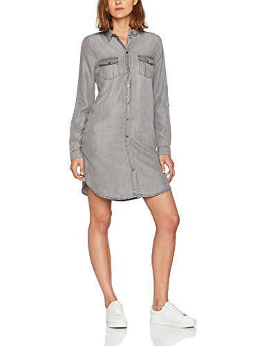 VERO MODA Damen Kleid Vmsilla LS Short Dress GA Noos, Grau (Light Grey Denim), 40 (Herstellergröße: L)