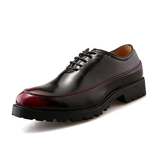 Jingkeke Herren Casual Outsole Business Oxfords Retro Spitze Spitze-up PU Leder Formelle Schuhe auffällig (Color : Rot, Größe : 39 ()
