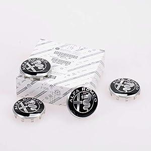 Original Alfa Romeo Radnabendeckel Alfa Romeo Logo Schwarz-Weiß 4er Set Alfa Romeo GIulia, Stelvio OE 71808019