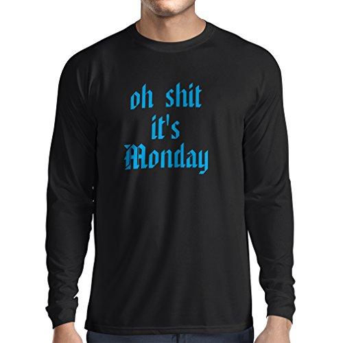 T-Shirt mit langen Ärmeln Oh shit es Montag Unisex T-Shirt Schwarz Blau