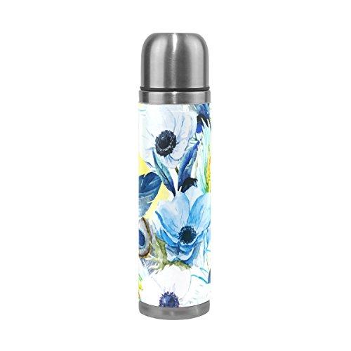 TIZORAX Watercolor Anemonen Blume doppelwandige Vakuum Cup Isolierte Edelstahl-Flasche Travel Becher Thermos Kaffee Tasse 17oz Anemone Cup