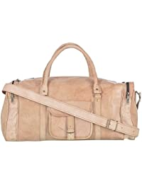 2dots Handmade Genuine Leather 25 Cms Brown Gym Bag Travel Duffel Bag