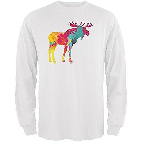 Splatter alce bianco adulto manica lunga t-shirt