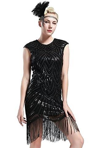 Babeyond Damen Kleid voller Pailletten 20er Stil Runder Ausschnitt Inspiriert von Great Gatsby Kostüm Kleid (Größe S / UK8-10 / EU36-38, glamourös Schwarz)