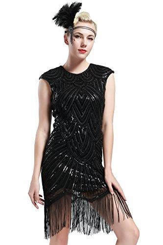 Kostüm Ärmeln Flapper Mit (Babeyond Damen Kleid voller Pailletten 20er Stil Runder Ausschnitt Inspiriert von Great Gatsby Kostüm Kleid (Größe S / UK8-10 / EU36-38, glamourös)