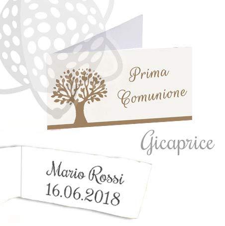 Gicaprice bigliettini bomboniera personalizzati con stampa omaggio (50 bigliettini comunione albero della vita)