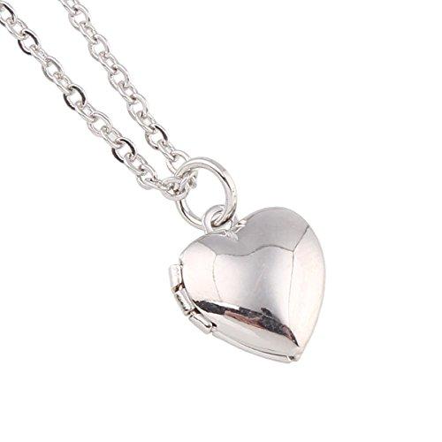 Pl Mini-anhänger (Styleziel Mini Damen Schmuckset Halskette Medallion Foto Medaillon Herz Anhänger zum öffnen Kugelkette Silber pl 47cm I love you 2290)