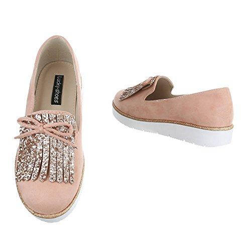 Pantofola Italiana Design Slittamento Scarpe Da Donna Moderne Basse Scarpe Vecchie Rosa 68-49