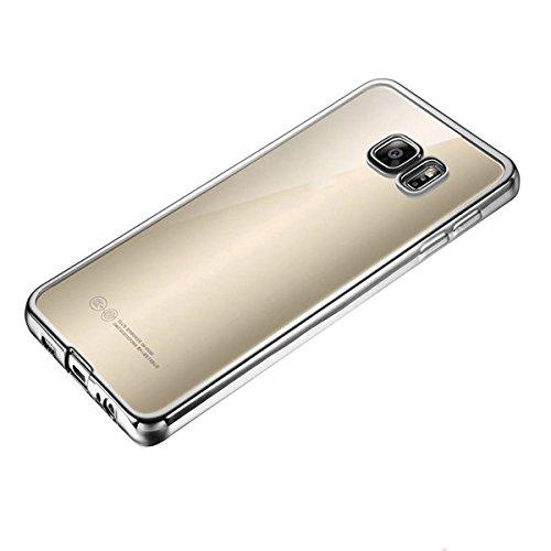 Coque Housse Etui pour Samsung Galaxy S7, Galaxy S7 Coque en Silicone dessin au laser Etui, Galaxy S7 Silicone Coque Souple Etui HousseSlim Case Soft Gel Cover, Ukayfe Etui de Protection Cas en caoutc Argent