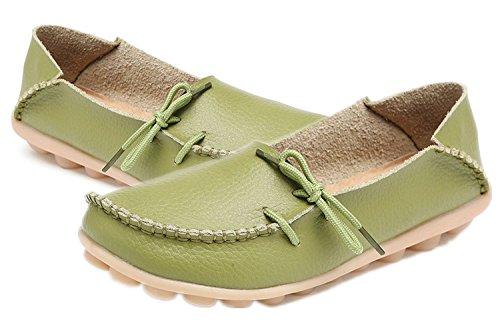 Azue Damen Kunstleder Mokassins Ultra-Weich Loafer Nubukleder Bootsschuhe Flach Geschlossen Schuhe Grasgrün