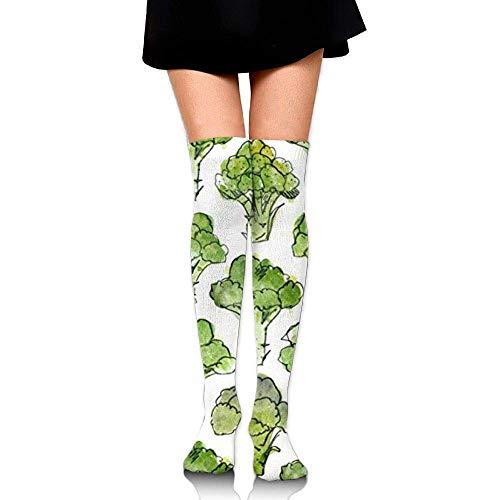 Gped Kniestrümpfe,Socken Novelty Casual Socks,Broccoli Green Unisex Compression Socks Knee High Socks Soccer Socks for Running,Nurses,Shin Splints,Travel,Flight,Pregnancy & Maternity(50 CM)