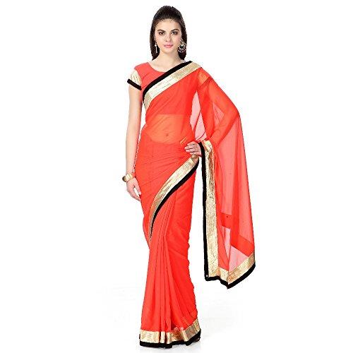 Janasya women's chiffon saree with gold border (JNE0402)  available at amazon for Rs.399