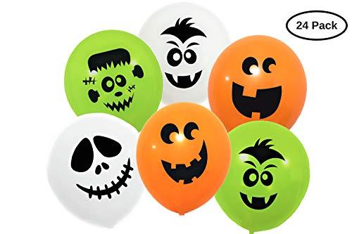 Halloween Deko Luftballons Monster Party Kinder Giveaway Helium- oder Luftfüllung für Innen und Außendekoration 24 Set grün/weiß/kürbisorange aus Naturkautschuk