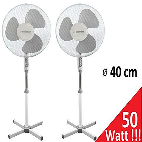 Standventilator 50 Watt Ventilator Klima Lüfter Klimagerät Windmaschine NEU (2 Stk, weiß/grau)