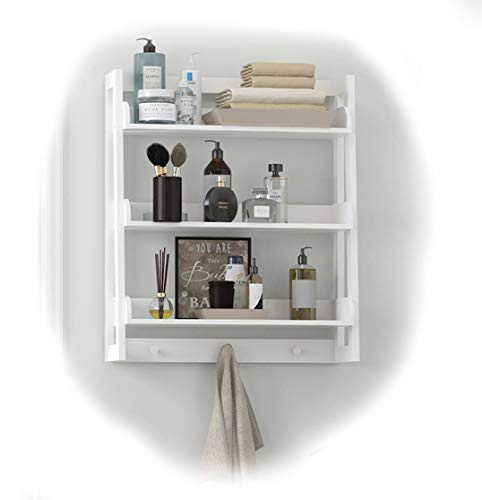 SPIRICH Organizador de baño con 3 estantes para Colgar en la Pared, Ahorro de Espacio en el baño, Color Blanco