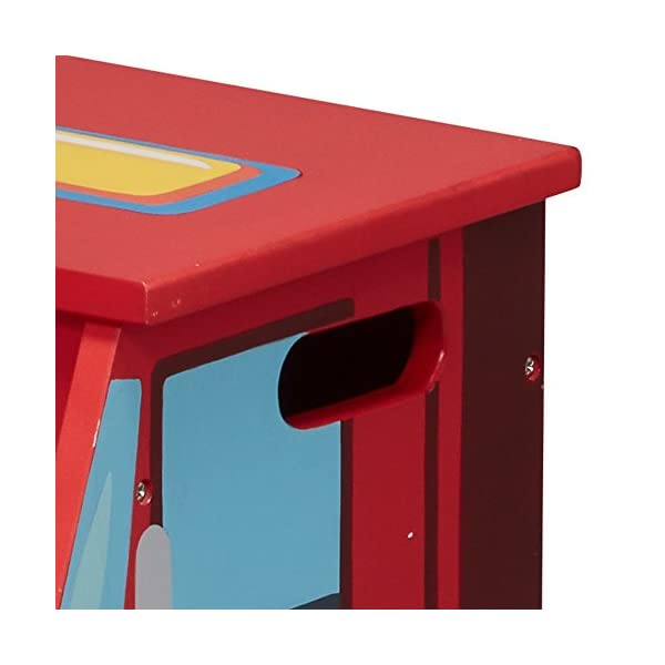 Fantasy Fields - Little Fire Fighters Hand Painted Step Stool with Storage Fantasy Fields By Teamson Lightweight design for easy portability with carry handles either side. dimensions 33.02 x 34.29 x 30.48 cm Top step has a lid that opens up to reveal a handy storage space. perfect for helping your child to reach the sink to brush their teeth. Teach your kids colour and character recognition and enhance their imaginative minds. great for encouraging children's independence 5