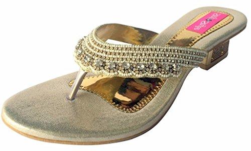 Mulheres Passo N Estilo Ouro Partido Sandália Brilhantes Elementos Sapatos De Salto Meados Jooti Khussa