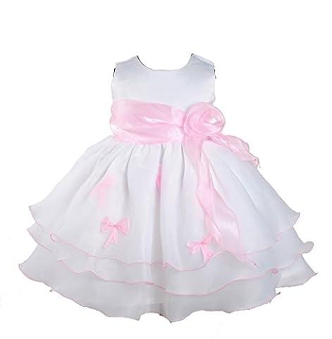 Cinda Mädchen Partykleid Weiß und Rosa