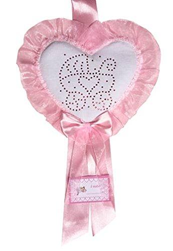 Fiocco nascita rosa coccarda cuore med