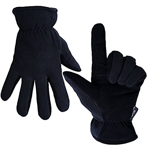 Winter Gloves, OZERO -20ºF Cold Proof Thermal Glove - Genuine Deerskin Suede Leather Palm and Polar Fleece Back with Heatlok Insulated Cotton Layer - Keep Warm in Cold Weather - Denim (Large)