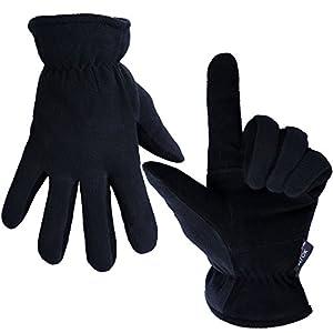 OZERO Thermo lederhandschuhe,Winterhandschuhe mit Anti-Rutsch Palme und Dick Futter für Radfahren,Lauf,Aarbeit und Ski,für Damen und Herren