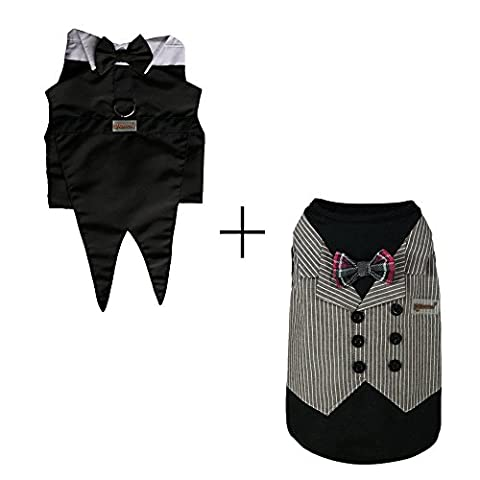 Pawow Dog Groom Tuxedo Suit Pet Costume for Small Dogs Poodle Mini Doberman Pinscher Miniature Schnazuer Yorkshire Terrier Chihuahua Pomeranian for Hollowing Weddings Parties Special Occasions (X-Small,