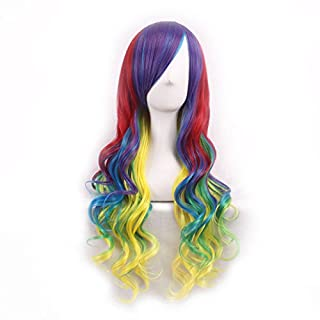Womens Ladies Girls 70cm Harajuku Yellow Mix Color Gradient High Quality Japanese Style Anime Hair Carve Cosplay Costume Anime Party Bangs Full Sexy Wigs