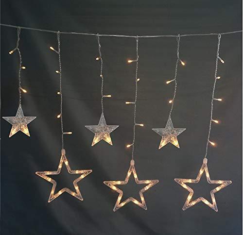 Style home LED Lichterkette Lichtervorhang mit 10 Sterne 115 Leuchtioden Innen & Außenlichterkette für Weihnachten Party Festen(Warmweiß Wasserdicht IP44)