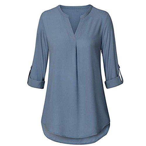 SEWORLD Damen 2018 Mode Sommer Herbst Schal Elegant Lose Täglich Chiffon Lose Langarm Solide V-Ausschnitt Gefesselt Shirt Bluse Tops(X-a-himmelblau,EU-40/CN-M)