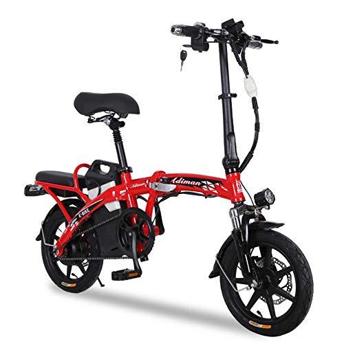 YuCar Faltrad E-Bike 12 Zoll Klapprad Elektrofaltrad 3 Gang 48V 25AH Lithium-Ionen-Akku mit 250W Motor (550Lbs),A