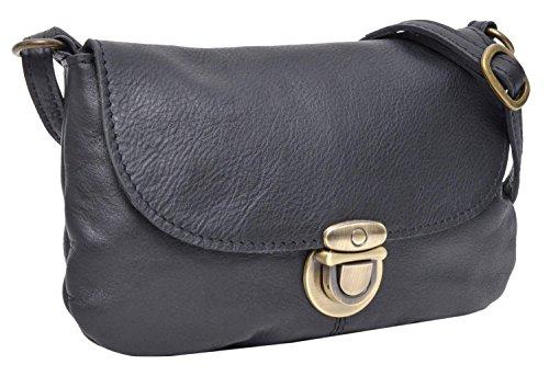 Umhängetasche aus Leder Gusti Leder Studio \'\'Rona\'\' Handtasche Damen Schwarz 2H84-48-6