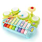 NINI Multifunctional electric toy drum set xylophone musical piano toy for kids 5