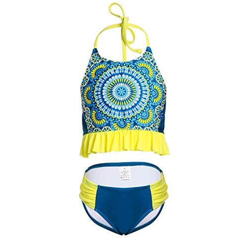 DAYU Mädchen Bademode Hals Halten Bikini Sets Badeanzug Geblühmt Drucken Beachwear Swimwear Baby Anzug -13-14