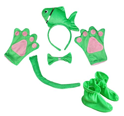 Petitebelle Nette Fische Stirnband Bowtie Schwanz Handschuhe Schuhe 5pc Kostüm für Kinder-Party Einheitsgröße Grün